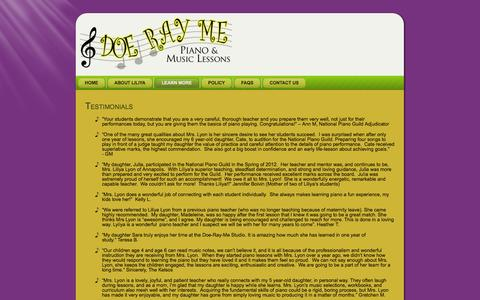 Screenshot of Testimonials Page doe-ray-me.com - Testimonials | Doe Ray Me - captured Sept. 30, 2014