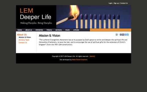 Screenshot of About Page lemdeeperlife.org - Mission & Vision - Deeper Life - captured May 12, 2017