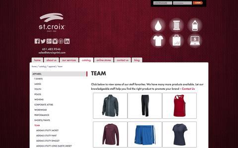 Screenshot of Team Page stcroixprint.com - Team Apparel :: St. Croix - captured June 16, 2017