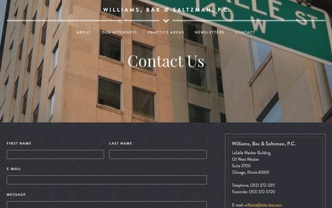 Screenshot of Contact Page wbs-law.com - Contact Us | Williams, Bax & Saltzman - captured Feb. 16, 2016