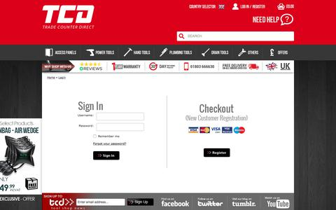 Screenshot of Login Page tradecounterdirect.com - Login - captured Sept. 24, 2018