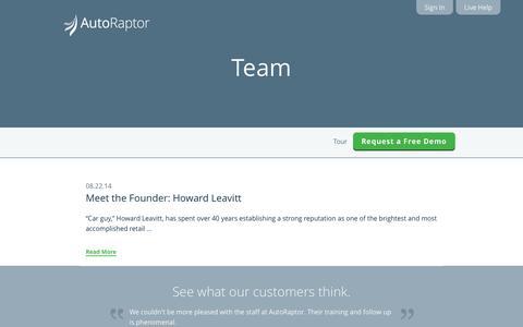 Screenshot of Team Page autoraptor.com - AutoRaptor – Automotive Lead Management ILM and CRM  » Team - captured Sept. 25, 2014