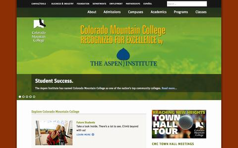 Screenshot of Home Page coloradomtn.edu - Colorado Mountain College - Colorado Mountain College - captured Sept. 22, 2014