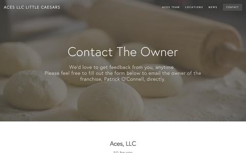 Screenshot of Contact Page acespizza.com - Contact — Aces LLC Little Caesars - captured Feb. 5, 2016