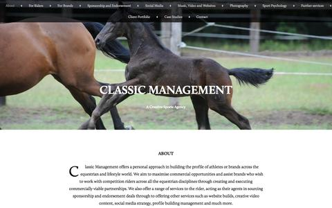 Screenshot of Home Page About Page classicmanagement.co.uk - Classic Management | A Creative Sports Agency - captured Sept. 30, 2014