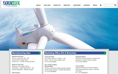 Screenshot of Contact Page inoxwind.com - Contact Us | Inox Wind - captured Oct. 15, 2017