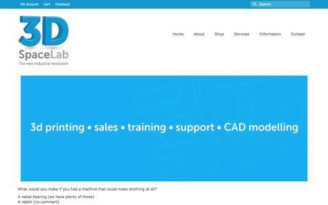 Screenshot of Services Page 3dspacelab.com - 3D Workshops | 3D Support | 3D Design Services - captured Oct. 27, 2014