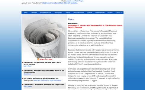 Screenshot of Press Page cornerstoneit.com - News | Cornerstone IT | managed IT service provider | Northeast Ohio, Cleveland and Erie PA - captured Sept. 30, 2014