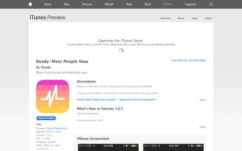 Screenshot of iOS App Page apple.com - Ready-Meet People Now on the App Store on iTunes - captured Oct. 23, 2014