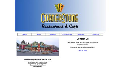 Screenshot of Contact Page cornerstonepenfield.com - Catering Services Penfield, Catering Restaurants, Caterers Fairport NY - captured Oct. 3, 2014