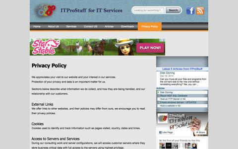 Screenshot of Privacy Page itprostuff.com - Privacy Policy - captured Feb. 10, 2016