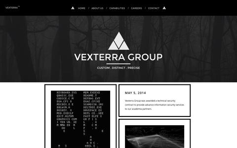 Screenshot of Home Page vexterra.com - Vexterra Group - captured Oct. 6, 2014
