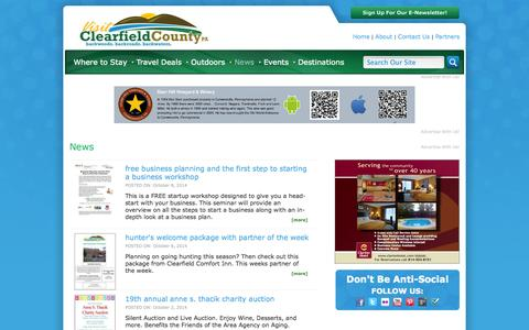 Screenshot of Press Page visitclearfieldcounty.org - Visit Clearfield County: News - captured Oct. 9, 2014