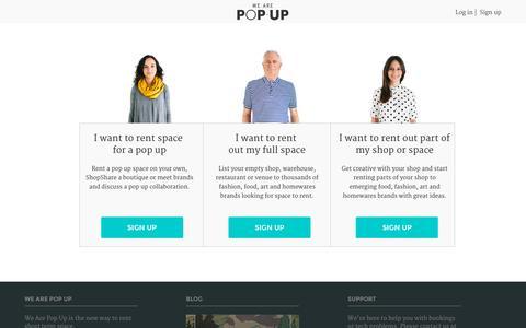 Screenshot of Signup Page wearepopup.com - Sign up   We Are Pop Up - captured Jan. 17, 2016