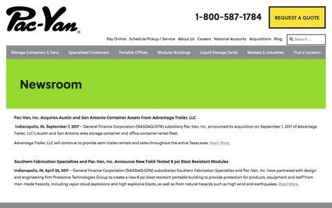 Screenshot of Press Page pacvan.com - NewsRoom | Pac-Van - captured Oct. 18, 2017