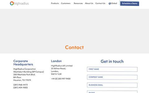 Screenshot of Contact Page highradius.com - Contact Us: HighRadius - captured Oct. 3, 2019