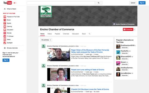 Screenshot of YouTube Page youtube.com - Encino Chamber of Commerce  - YouTube - captured Oct. 23, 2014