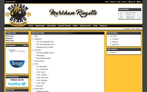 Screenshot of Site Map Page markhamringette.com - Sitemap (Markham Ringette) - captured Oct. 17, 2017