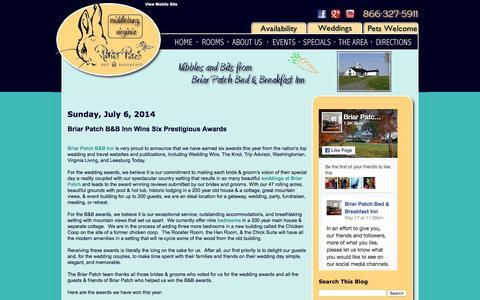 Screenshot of Blog briarpatchbandb.com - Briar Patch Bed & Breakfast Inn - captured June 16, 2016