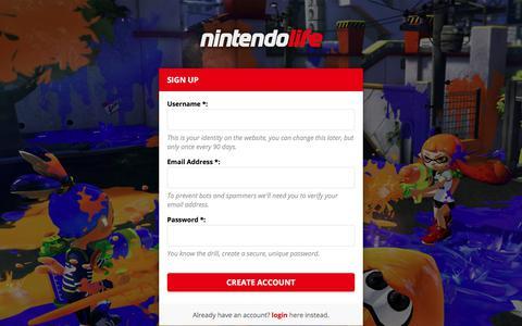 Screenshot of Signup Page nintendolife.com - Nintendo Life - Create Account - captured June 20, 2017