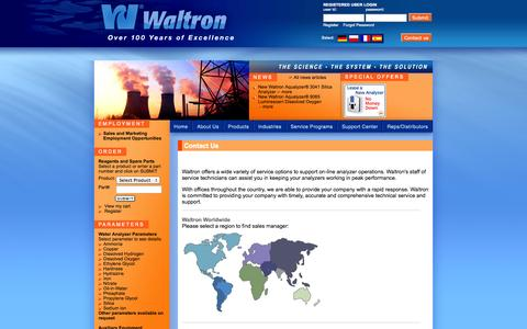 Screenshot of Contact Page waltron.net - Waltron LLC - Contact Us - captured Oct. 27, 2014