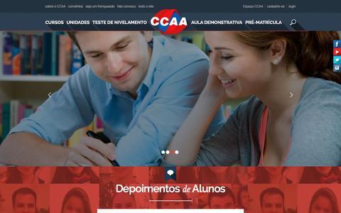 Screenshot of Home Page ccaa.com.br - CCAA - Cursos de Inglês e Cursos de Espanhol - captured Jan. 22, 2016