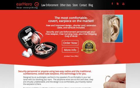Screenshot of Home Page earhero.com - In Ear Headphones for Cycling, Running Headphones, Covert Earpiece - captured Dec. 14, 2015