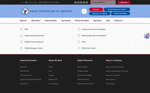 Screenshot of Terms Page zakat.org - Legal & Financial Information - Zakat Foundation of America - captured July 6, 2017