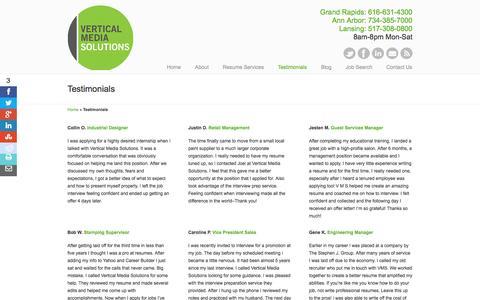 Screenshot of Testimonials Page vmsolu.com - Resume Service Reviews And Testimonials | Vertical Media Solutions - captured Oct. 26, 2014