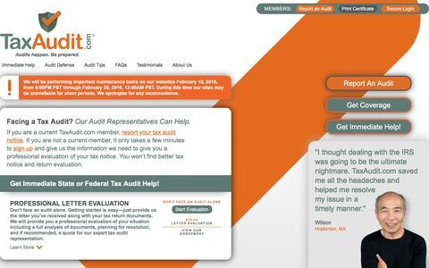 Screenshot of Signup Page taxaudit.com - Facing a Tax Audit? Expert Tax Audit Representation from TaxAudit.com - captured Feb. 18, 2016