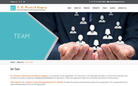 Screenshot of Team Page sbpanchal.com - Our Team - captured Sept. 30, 2018