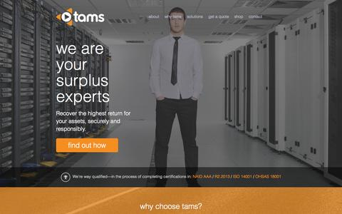 Screenshot of Home Page tamsolutions.com - Tam Solutions - captured Jan. 26, 2015