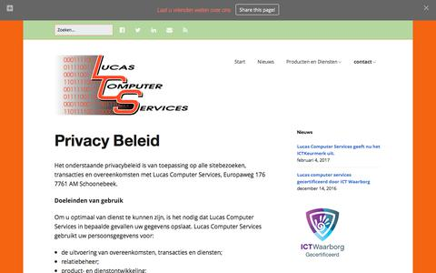 Screenshot of Privacy Page lucascomputers.nl - Privacy Beleid | Lucas Computer Services - captured Sept. 11, 2017