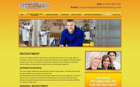 Screenshot of Jobs Page colinlaverheating.com - Heating Jobs, Plumbing Apprenticeships, Central Heating Jobs - Newport - captured Oct. 8, 2014