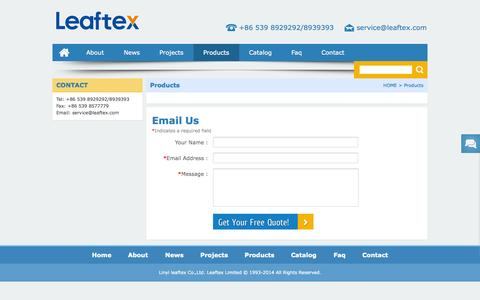 Screenshot of Products Page leaftex.com - Products – Leaftex Limited - captured Oct. 2, 2014