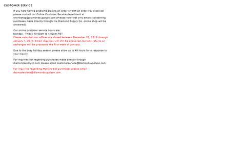Screenshot of Support Page diamondsupplyco.com - Customer Service - captured Oct. 10, 2014