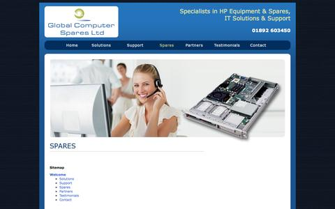 Screenshot of Site Map Page globalcomputerspares.com - Global Computer Spares, suppliers of HP Equipment & Spares, IT Solutions & Support - captured Oct. 2, 2014
