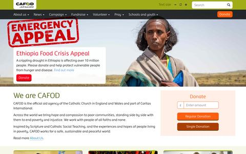 Screenshot of Home Page cafod.org.uk - CAFOD - We are CAFOD - captured July 10, 2016