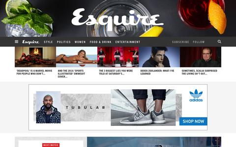 Screenshot of Home Page esquire.com - Esquire - Men's Fashion, Cocktails, Politics, Interviews, and Women - captured Feb. 17, 2016