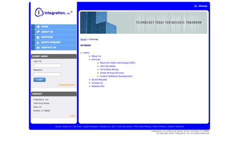 Screenshot of Site Map Page integrationinc.com - IT Outsourcing Solution, Software Product Integration, Data Cleaning & Check Writing Services - Sitemap - captured Sept. 30, 2014