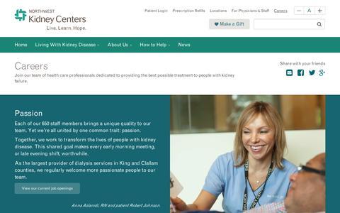 Screenshot of Jobs Page nwkidney.org - Careers, Jobs | Work For Us  | Northwest Kidney Centers - captured Dec. 20, 2016