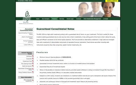 Screenshot of Products Page bglsecuritiesltd.com - BGL Securities Limited   ..::  Guaranteed Consolidated Notes  ::.. - captured Oct. 4, 2014