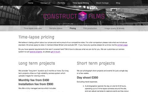 Screenshot of Pricing Page constructfilms.co.uk - Pricing Ń Construct Films - captured Dec. 10, 2015