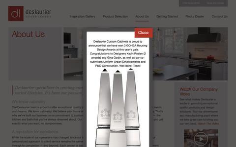 Screenshot of About Page deslaurier.ca - Ottawa Kitchens   Bathrooms   Closets   Deslaurier Custom Cabinets - captured Nov. 14, 2018