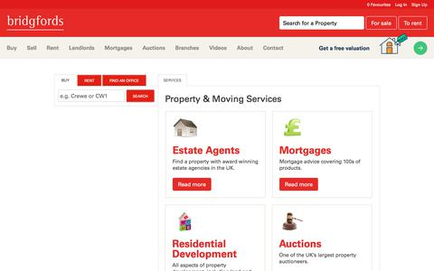 Screenshot of Services Page bridgfords.co.uk - View our range of services available from home insurance to mortgages plus much more - captured Aug. 3, 2018