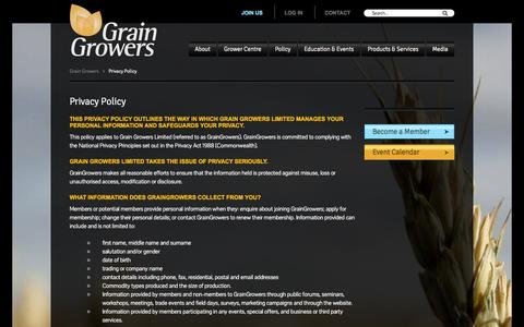 Screenshot of Privacy Page graingrowers.com.au - GrainGrowers - Privacy Policy - captured Oct. 3, 2014