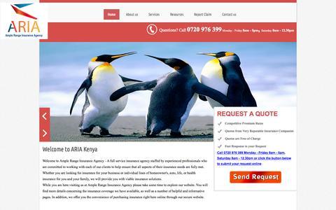 Screenshot of Home Page ariakenya.com - Ample Range Insurance Agency - Ample Range Insurance Agency - captured Sept. 10, 2015