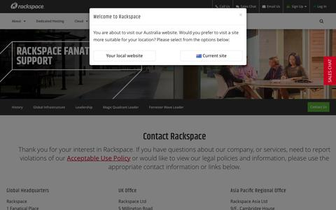 Screenshot of Contact Page rackspace.com - Contact Us | Managed IT Support | Rackspace Australia - captured June 29, 2017