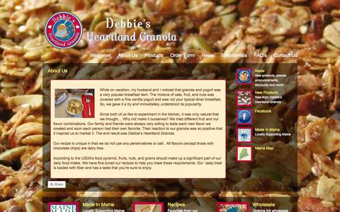 Screenshot of About Page debbiesheartlandgranola.com - Debbie's Heartland Granola |   About Us - captured Sept. 30, 2014