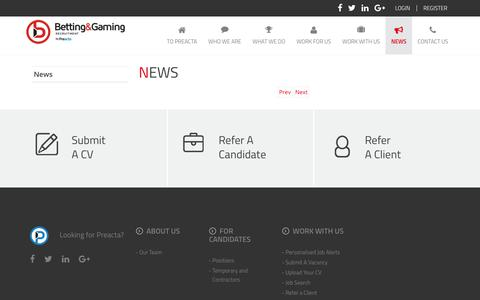 Screenshot of Press Page bgrecruitment.com - News   Betting Gaming Recruitment - captured Oct. 10, 2017